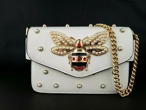 Bumble Bee White Handbag Red Rhinestones & Faux Pearl Gold Accent