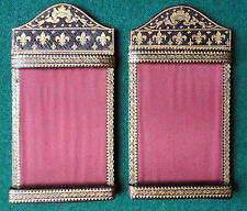 Antique French Leather & Gold Tooling CDV Photo Frames with Fleur-de-Lys
