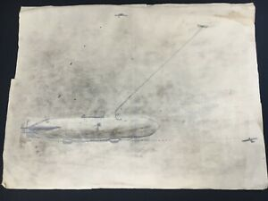 Zeppelin WW1 Child's Charcoal sketch 1914 historical of father's plan / lecture