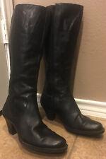 BORN Navi Black Leather Zip Knee High Fashion Boots US Size 8 M Eu 39 # W3424