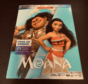 MOANA (Blu-ray + DVD + Digital + Slipcover Brand New
