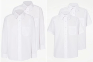 Boys School Shirts Long Short Sleeves White Ages 3-17 Years
