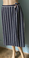 M & S Womens Striped Wool Pencil Skirt Uk Size 12 Navy And White BNWT