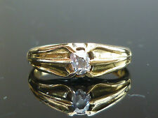 Stunning 18ct gold 0.30ct Old mine cut solitaire diamond Gents ladies ring