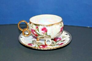 Vintage Royal Sealy Pink Rose Footed Teacup and Saucer Gold Accents