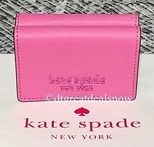 NEW Kate Spade Cameron Monotone Micro Tri Fold Wallet Bright Peony