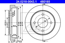 2x Bremstrommel für Bremsanlage Hinterachse ATE 24.0218-0043.1