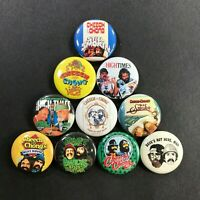 "Cheech and Chong 1"" Button Pin Set Stoner Comedy Marijuana Weed Classic"