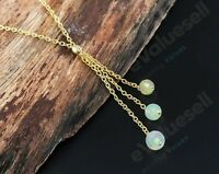 Ethiopian Opal Lariat Necklace Sterling Silver Natural Women Gift Mother's Day