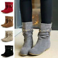 Winter Women Lady Suede Slouchy Boots Round Toe Buckle Rivet Mid-Calf Shoes Size