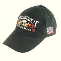 Danelley Biketoberfest 2009 Cap Mens Strapback Black Skull Flames & USA Flag Hat