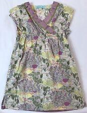Chou Chou Chic Girls Size 110 4-5 Yrs Chinese Floral V Neck Short Sleeve Dress