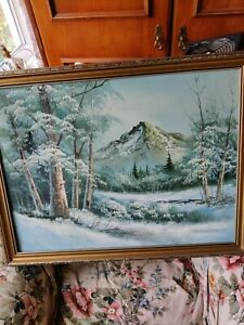 winter snow scene landscape, oil painting, framed,