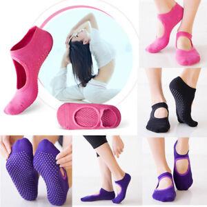 US Women's Fitness Yoga Socks Non Slip Grip One Size Cotton Pilates Massage