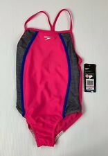 Speedo Girls Heather Thin Strape Size 10 Swimsuit Pink NWT
