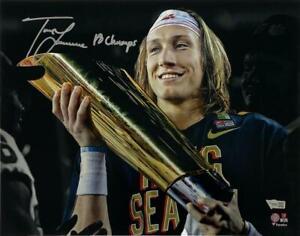 """TREVOR LAWRENCE Autographed """"18 Champs"""" Clemson 11"""" x 14"""" Photograph FANATICS"""