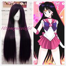 Sailor Moon Sailor Mars 85cm long purple black straight hair cosplay wig