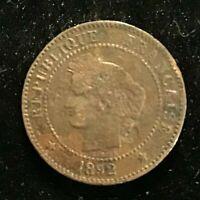 1892 A Paris Republique Francaise / France 2 Centimes coin