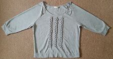Ladies women 1/4 sleeves light grey top blouse shirt Miss Selfridge size 12