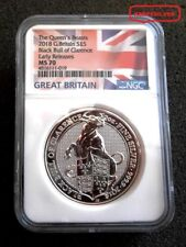 2018  BRITAIN'S QUEEN BEAST SILVER BLACK BULL 2 OZ. COIN FLAG LABEL = NGC  MS 70