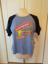 """Freeze Looney Tunes Tweety """"Warning I Have Major Issues"""" Blue Womens Plus Sz Top"""