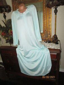 Vtg Aqua Shadowline long nightgown brushed nylon gown dress lingerie Medium