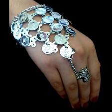 Bollywood Bauchtanz Belly Dance Handschmuck Sklavenarmband Silbermünzen