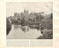1894 Vittoriano Stampa ~ Windsor Castle Londra ~ Forti ( Testo