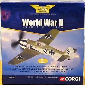 """Corgi AA34302 Fw 190A I/JG 1, """"Black Double Chevron"""", Fritz Losigkeit 0003/3700"""