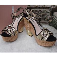 NWT 2014 Miu Miu Glitter Platform Wedges T-strap High Heels Sandals I38 in Box