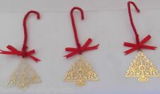 Vintage S/3 Gold Plated Trees Ornaments Never Used,Craft,Wreaths ,Hair Bow