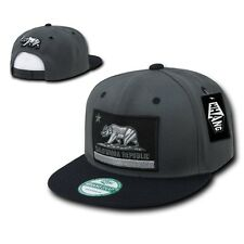 California Republic Flag Bear Charcoal Black Flat Snapback Snap Back Cap Hat