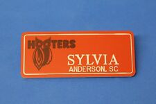 ORANGE HOOTERS GIRL NAME TAG PIN (name in white) SYLVIA Anderson, SC