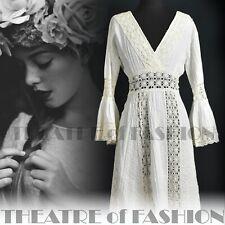 DRESS WEDDING CROCHET PRAIRIE VINTAGE 12 14 16 70s BOHO WHITE HIPPIE STUNNING