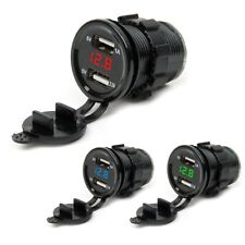 12V/24 Dual USB Port Car Cigarette Lighter Socket Splitter Charger LED Voltmeter
