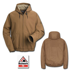 Bulwark Flame Resistant Clothes EXCEL FR Brown Duck Hooded Jacket Work Uniform