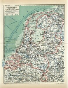 1906 NETHERLANDS HOLLAND AMSTERDAM ROTTERDAM Antique Map dated