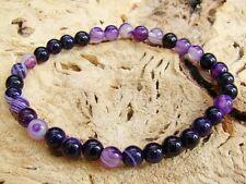 Delicate Men's Purple Gemstone elasticated Bracelet 6mm Agate beads