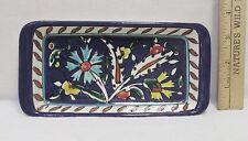 Signed Jerusalem Pottery Rectangle Dish Container Floral Design Blue 7.5 x 3.75