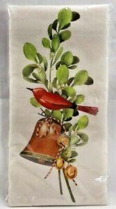 NIP Holiday Flour Sack Kitchen Dish Towel Bird Bell Mistletoe Christmas 8030F