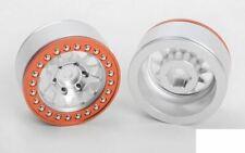 """Rock Tamer 1.9"""" Beadlock Wheels Z-W0321 RC4WD 12 Spoke Silver Orange ring wheel"""