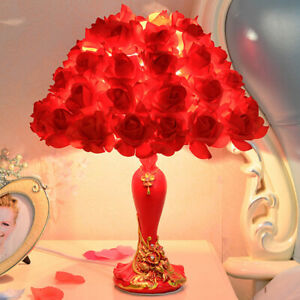 Medium Red Rose Lamp Table Bedside European Stylish Romantic Wedding