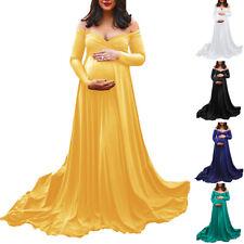 Women Pregnant Long Maxi Gown Photography Photo Shoot Fancy Maternity Wrap Dress