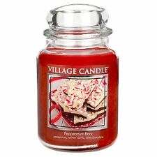 Village Candle Large Jar Candles Dual Wick 26oz 170 Hours Burn Time Peppermint Bark