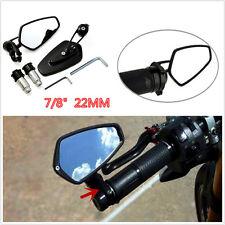 "Universal Black Motorcycle Billet Aluminum 7/8"" 22 Bar End Side Rearview Mirrors"