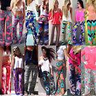 Women Sexy Fashion Loose Stretch High Waist Wide Leg Long Pants Palazzo Trousers