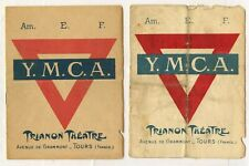Wwi Ww1 Aef Ymca Trianon Theater Programs Tours France Lot of 2 Pieces