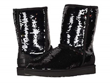 Womens UGG Australia Classic Short Sequin Black Winter BOOTS 1094982 Size 11