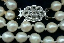 Vintage Double Cultured Pearls Necklace 9ct White Gold Diamond Birmingham 1964