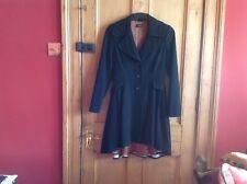 BNWT Topshop Negro De Lana De Colección Fit & Flare bordeó Princesa Equitación Abrigo 10 38 US6